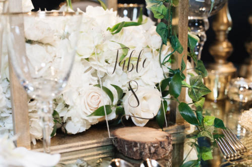 Acrylic table number signage for wedding reception