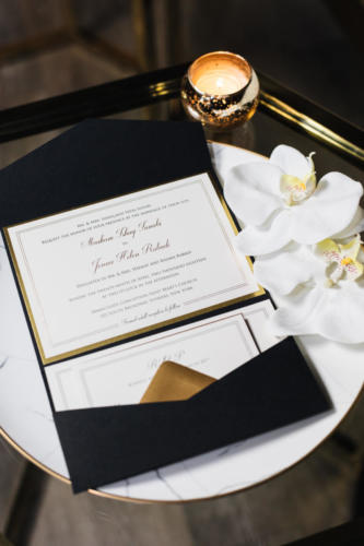 Black and gold foil horizontal pocket invitation