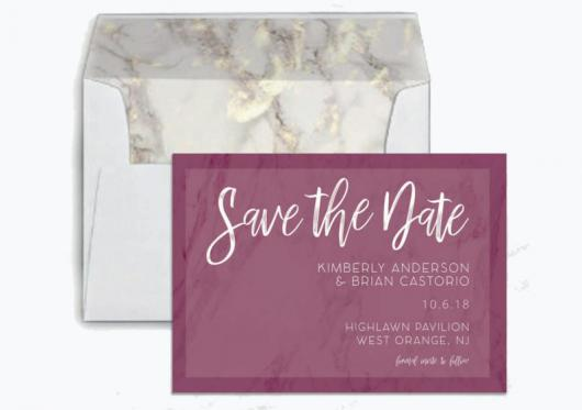 Marble Save the Date and envelope liner