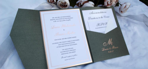 Pocket Wedding Invitation with Rose Gold Foil Monogram