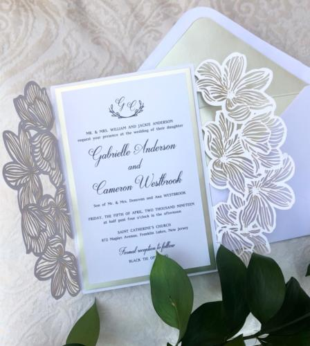 Elegant laser-cut gatefold wedding invitations