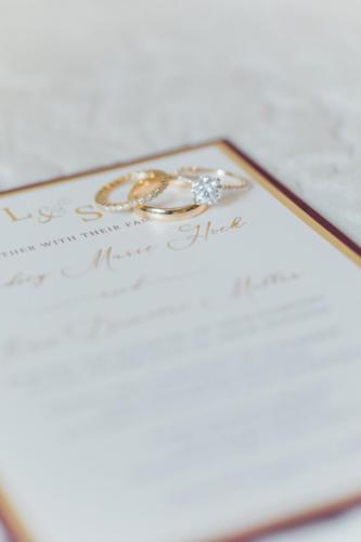 Gorgeous gold foil fall wedding invitation