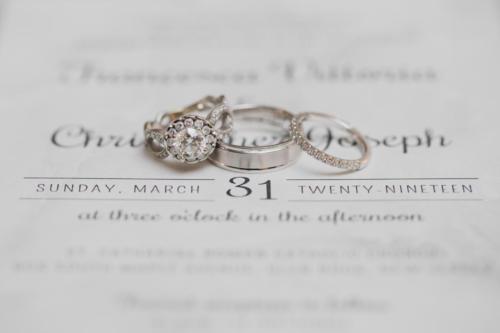 Detailed wedding invitation/ring shot