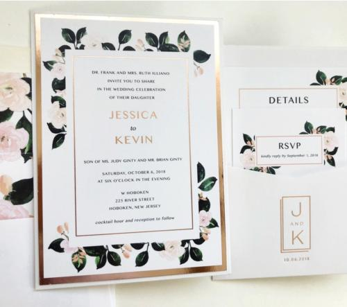 Minimalistic floral wedding invitation with rose gold foil accents