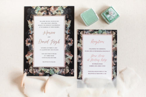 Modern, colorful floral wedding invitation with rose gold foil accents