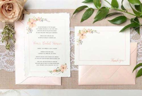 Rustic floral bridal shower invitation and thank you card