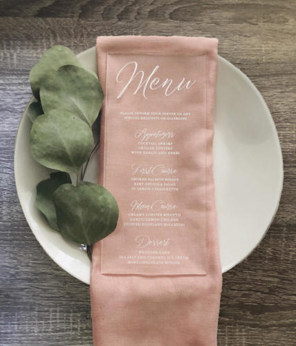 Elegant acrylic menu