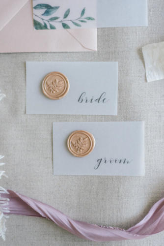 Vellum + wax seal place cards