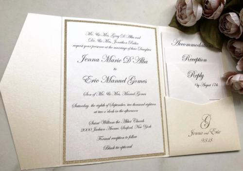Elegant script opal and gold pocket invitation
