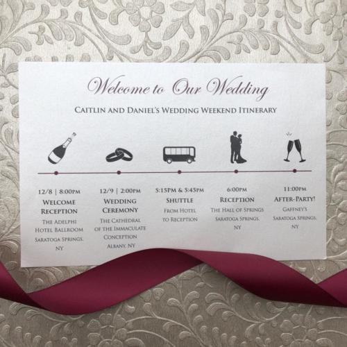 Wedding Itinerary Card